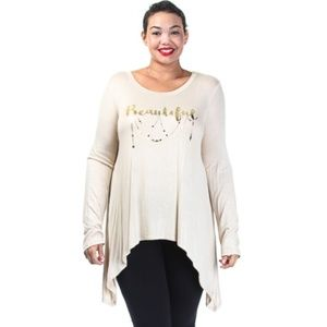 Beige Round Neck Hi-Lo Long Sleeved Beautiful Top